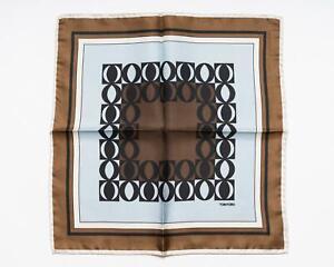Tom Ford Brown Light Blue Black Geometric Print Silk Pocket Square