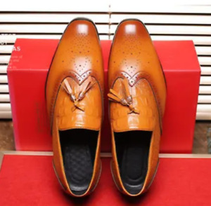 Mens PU Leather Shoes Tassel Flat Casual Business Slip-on Oxfords Pumps Formal 9