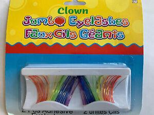 Pride Rainbow Eyelashes Womens Sexy Jumbo Halloween Clown Burlesque Costume