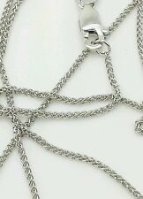 "10k Solid White Gold Adjustable Wheat Necklace Pendant Chain Up to 22"" 1.0mm"