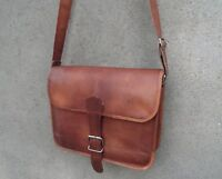 "Real Brown Leather Crossbody Messenger Bag Fits A4/12"" Laptop Satchel Men Women"