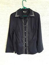 Christine Alexander women's blouse button-down crystal embellished Navy Blue L