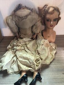 Vintage Composition Woman Looking Doll Unknown Maker Very Old