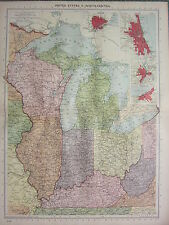 1940 mappa ~ Stati Uniti del Nord centrale ~ Wisconsin Michigan St. Louis Chicago