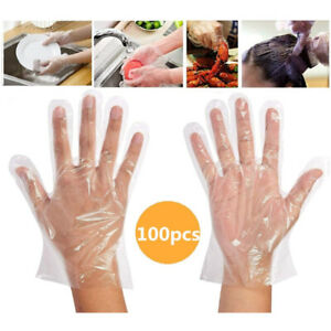 100Pcs Single Use Clear Plastic Gloves Powder Free PE Gloves Food Cleaning Large