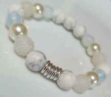 White Howlite,Agate, Moonstone & Links Of London sterling silver rings Bracelet