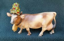 HAND CARVED & PAINTED WOOD DAIRY COW W/ XMAS TREE? ON HEAD Switzerland
