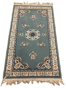 "VTG 48"" X 28"" 4ft Oriental Rug Blue Beige Pink White Door Mat Runner Carpet"