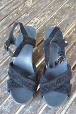 UGG Luella Ladies Size 6.5 Black Suede Platform Sandals