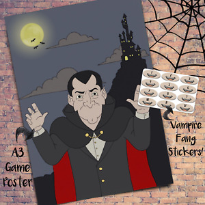 Pin the Fangs on the Vampire - Kids Halloween Game 20x Props Decoration Costume
