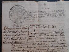PERU SPAIN colonial document manuscript hacienda sale-contract 1801 at Moquegua