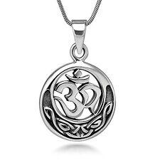 Sterling Silver 20 mm Celtic Aum Ohm Sanskrit Symbol Yoga Pendant Necklace 18''