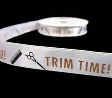 "5 Yds Trim Time Hairdresser Hair Cut Scrapbook White Satin Ribbon 5/8""W"