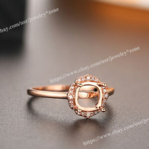 Real Diamond Semi Mount Ring Fine Jewelry Solid 14K Rose Gold Cushion 6.5x6.5mm