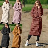 2019 Damen Strickjacke Lange Strickmantel Pullover Kapuze Outwear 38 40 M L XL