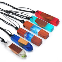 Colorful Random Fashion Women/Men Colored Resin Wood Pendant Rope Chain Necklace