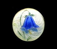 Antique Button…Norwegian Guilloche Enamel Bluebell on Sterling Silver, Marked