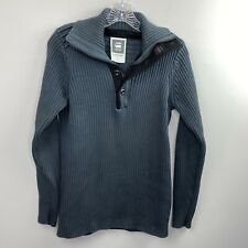 G-STAR RAW Mens Medium M Cotton Gray KNIT Ribbed 1/4 Zip Button Pullover Sweater