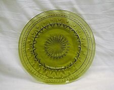 Old Vintage Avocado Green Salad Plate Press Glass Dinnerware Unknown Maker