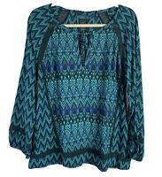 Prana Womens Blouse Tacana Peasant Crochet Detal Tie Neck Teal Size XL