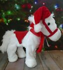 Animated Musical White Plush Faux Fur Horse Plays Jingle Bells While Galloping