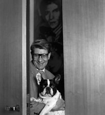 Yves Saint Laurent UNSIGNED photograph - L7546 - With his dog!!!! - NEW IMAGE!!!