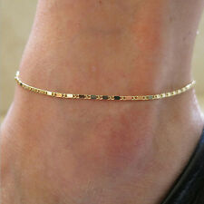 Women Simple Gold Chain Anklet Ankle Bracelet Barefoot Sandal Beach Foot Jewelry