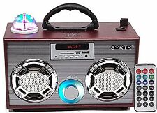 Portable Rechargeable Bluetooth Boombox SD MMC USB Ports FM Radio Light Show