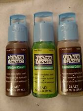 3 tubes of Gallery Glass Window paint Plaid 2 Oz New Sealed brown lime green