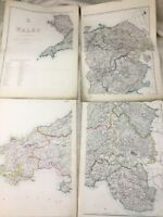 Antique Map of Wales Welsh United Kingdom Hand Coloured 19th Century LARGE Maps