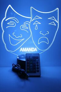 Comedy Tragedy Theater Masks Night Light Up Lamp LED Personalized Custom, Remote