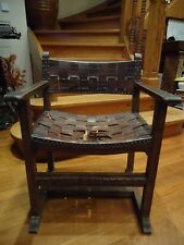 ANTIQUE CROSS LEATHER CHAIR MEDIEVAL GOTHIC ARMCHAIR