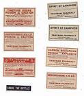 Eight Old Pharmacy Labels Tristram Pharmacy Brenham Texas Fred Heineke POISON