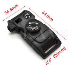 15 in1 Outdoor Survival Kits Compass Thermometer Whistle Buckle Black