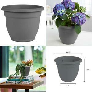 Ariana 21.5 In. Charcoal Grey Plastic Self Watering Planter