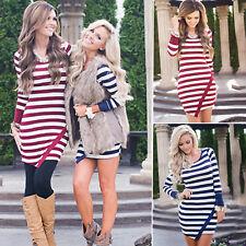 Women Striped Long Sleeve Mini Dress Lady Casual Blouse T Shirt Tunic Dress Tops