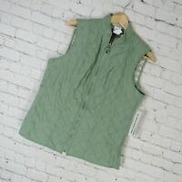 Alfred Dunner Vest Womens 8 Green Winter Garden Quilted Reversible $58