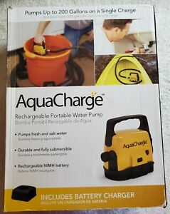 AquaCharge ☆ RECHARGEABLE PORTABLE WATER PUMP ☆ Fresh And Salt Water ☆ NiMH