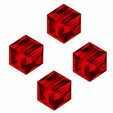 GLASS CUBE BEAD RED COLOR FACETED SQUARE 4MM JEWELRY 100 BEADS STRANDS GC10