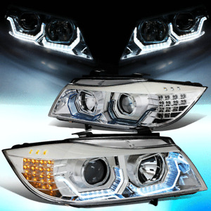 FOR 2006-2008 BMW E90 325I 328I 330I LED SIGNAL BLUE 3D DRL PROJECTOR HEADLIGHT