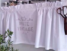 Scheibengardine White Vintage Kurzgardine Vorhang Landhaus Krone Weiß -Grau