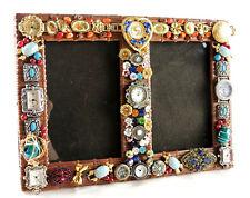 "OOAK Artist Signed 10x7.5"" Copper 2 Photo Frame Vtg Rhinestone Watch Jewelry Lot"