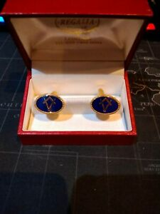 Masonic Gold And Blue Cufflinks with box great condition a must have