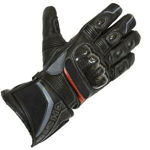 Richa Baltic Leather Waterproof Motorcycle Motorbike Gloves - Black / Red