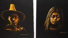 ESPERANZA MARTINEZ MEXICAN BOY & GIRL PAIR OF ORIGINAL PASTEL ON PAPER PAINTINGS