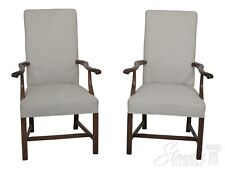 30394EC: Pair Chippendale Style Mahogany Upholstered Arm Chairs