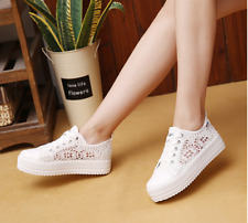Comfortable Casual Hollow Sneaker Summer Lace Up Platform Women Canvas Shoes
