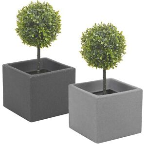 Stone Effect Planter 20cm Cube Plant Pot Square Window Indoor Outdoor Flowers