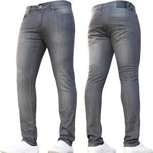 Mens Super Stretch Jeans Skinny Designer Basic Grey Pants All Size Special Offer