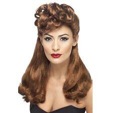 mujer clásico 40's Vintage Retro Peluca Pelirrojo Largo Con Superior rizos